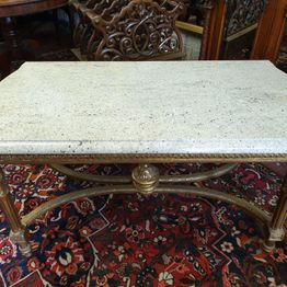 Marble Top center Table or Coffee Table on Gilt Base with Moulded Marble Top.