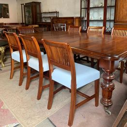 Victorian Dinning room Table & 10 Cork 11 Bar Chairs including 2 Carvers. €4000